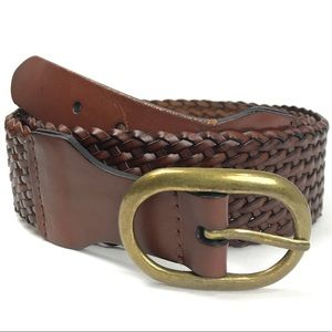 Loft Woven Leather Brown Leather Belt Size Large